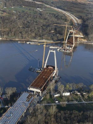 This photo from March, 21, 2016 shows the east end bridge and Interstate 265 under construction. Oldham County is at bottom and Utica, Ind,. is at top of photo.
