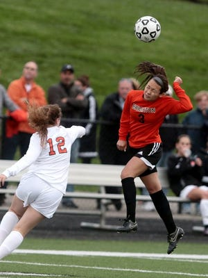 Brighton's senior Kasey Codd (right) played her last game at Sloan field, tying Grand Blanc 0-0.