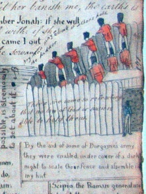 York in the 1780s: This drawing by a British prisoner of war shows that Camp Security in present-day Springettsbury Township was not that secure. Prisoners escaped by standing on the shoulders of their fellow British soldiers. The British POW American Revolution camp operated between 1781 and 1783. In recent years, volunteer diggers have searched for the exact location of the stockade.