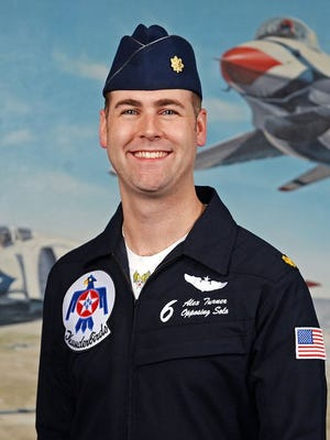 This undated photo provided by the U.S. Air Force shows Maj. Alex Turner, of Chelmsford, Mass. The Air Force has identified Turner as the pilot of a jet that crashed following a Thunderbirds flyover in Colorado.