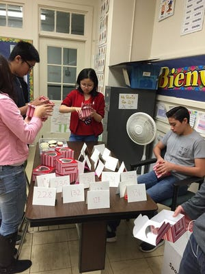 The North Plainfield High School Interact Club,seen here with a Valentine's Day projectm was one of many programs highlighted by the North Plainfield/Plainfield Rotary Club.