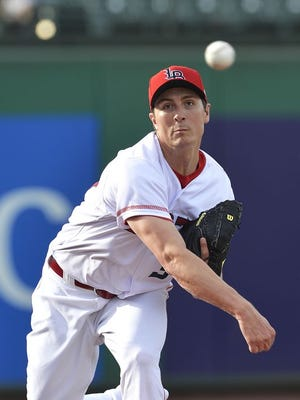 Homer Bailey pitches for the Louisville Bats.