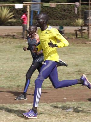 James Nyang Chiengjiek during a training run.