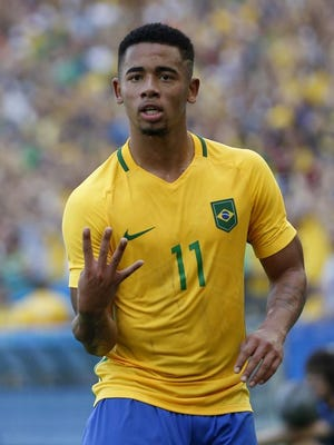 Gabriel Jesus celebrates one of his two goals for Brazil in its 6-0 semifinal win over Honduras Wednesday.