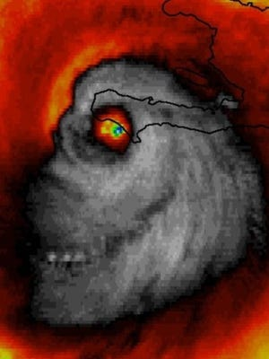 A sinister face appeared in an infrared satellite image of Hurricane Matthew on Tuesday. The image was not altered.