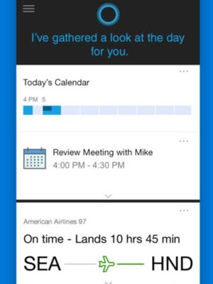 A screenshot of the Cortana app.