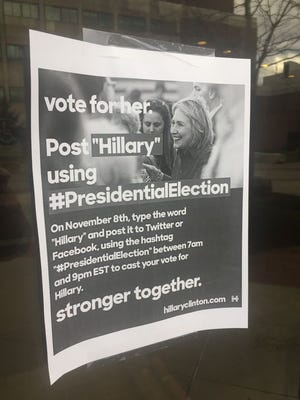 A poster found on the SUNY New Paltz campus Sunday.