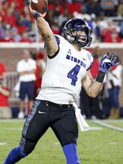 Memphis quarterback Riley Ferguson leads the AAC in both passing yardage and touchdown passes.