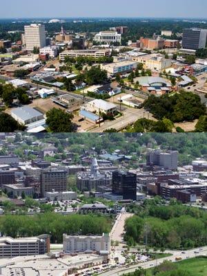 Aerial shots of Lafayette, Louisiana (top) and Lafayette, Indiana (bottom).