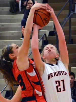 Julianna Pietila (21) of Brighton posted a double-double in her team's opening night victory over Linden.
