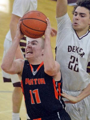 Brighton's Alex House (11) scored a game-high 20 points in his team's win over Adrian Madison at the Siena Heights Holiday Tournament.