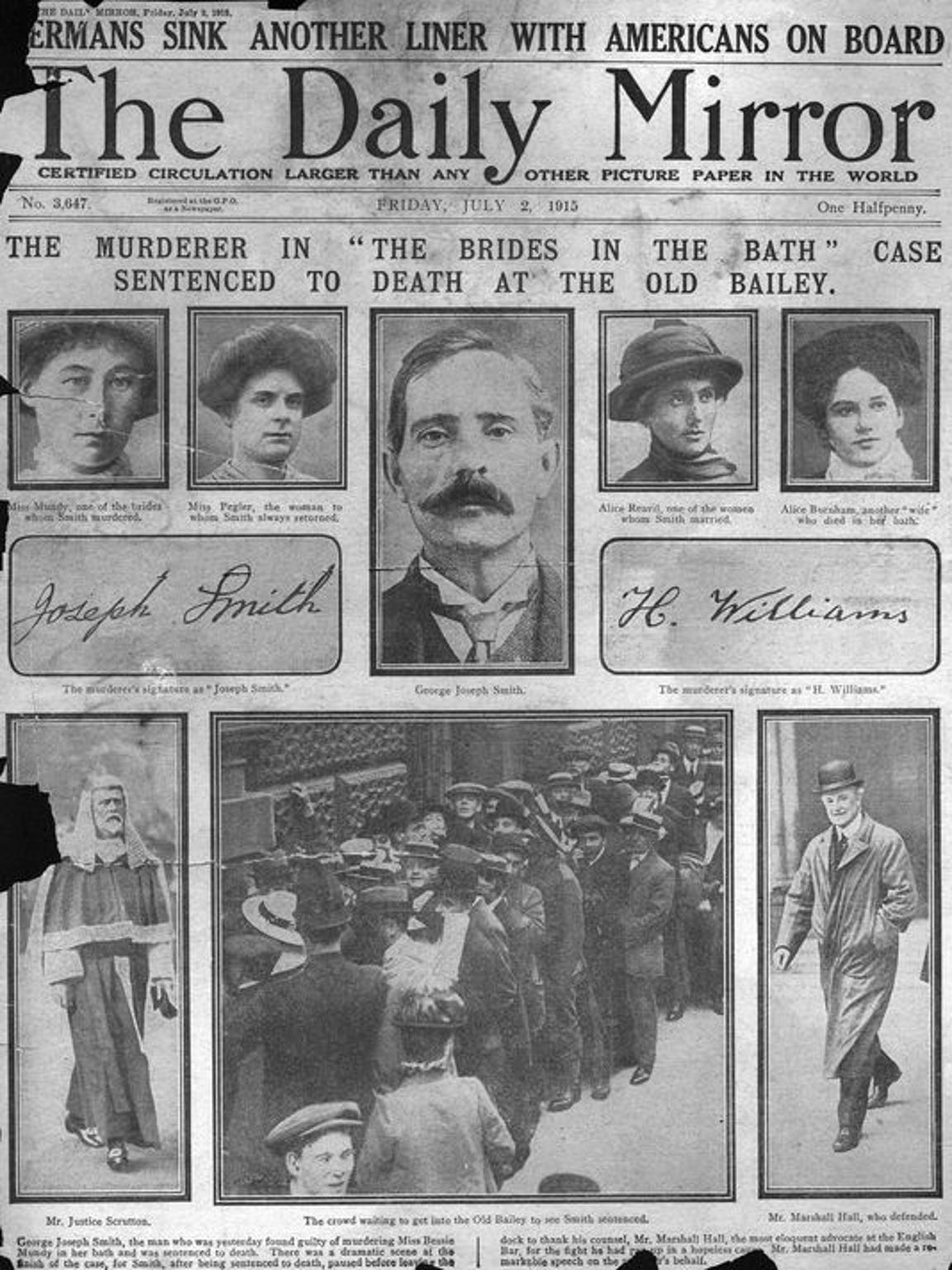 The Daily Mirror in London on July 2, 1915, details