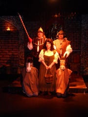 """Don Quixote (Mark Carovale, left) pursues his impossible dream in """"Man of La Mancha,"""" which opens at Brundage Park Playhouse in Randolph. Joining him on his quest are Kelly Miller as Aldonza, Alex Marchesani as Sancho and Alicia Vega and Clare Capuzzi as the Mule and Horse, respectively."""