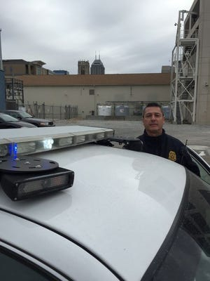 License plate reading camera on back of Indianapolis police cruiser
