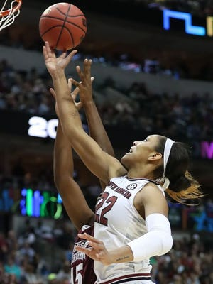 Mississippi State Lady Bulldogs center Teaira McCowan (15) defends against South Carolina Gamecocks forward A'ja Wilson (22) in the third quarter in the 2017 Women's Final Four championship at American Airlines Center.