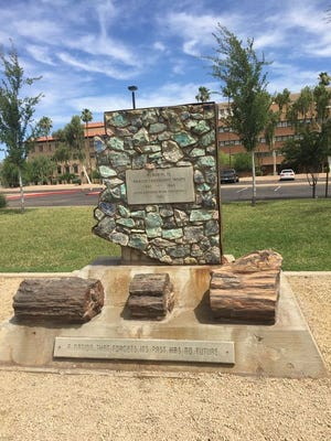 This memorial to Confederate soldiers is at Wesley Bolin Memorial Park, next to the state Capitol in Phoenix.