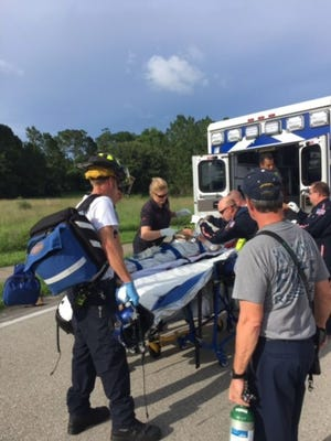 A 71-year-old south Lee County, Fla.,woman suffered arm and leg injuries after she was bitten by a 10-foot-plus alligatoron Sunday afternoon in a gated community.