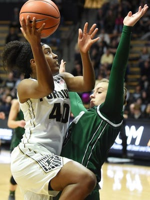 Purdue's Lamina Cooper drives to the basket against Ohio.
