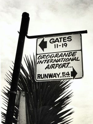 A broken-down Border Patrol aircraft inspired the so-called Orogrande International Airport.