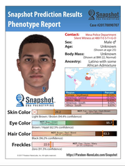 This photo was generated by the use of DNA technology that predicts the appearance of a person based on unidentified DNA. This picture was projected based on the DNA collected at the scene of the crime.