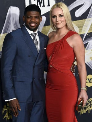 P. K. Subban and Lindsey Vonn on the red carpet prior to the CMT Music Awards at Bridgestone Arena.