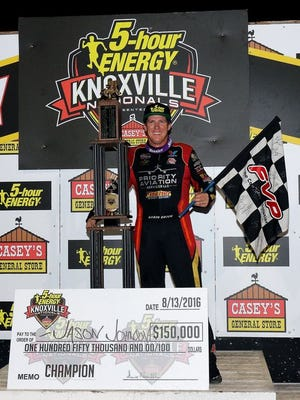 Eunice native Jason Johnson, shown here winning the Knoxville Nationals earlier this season, died in the died after a crash Saturday night in the World of Outlaws feature at Beaver Dam Raceway in Wisconsin.