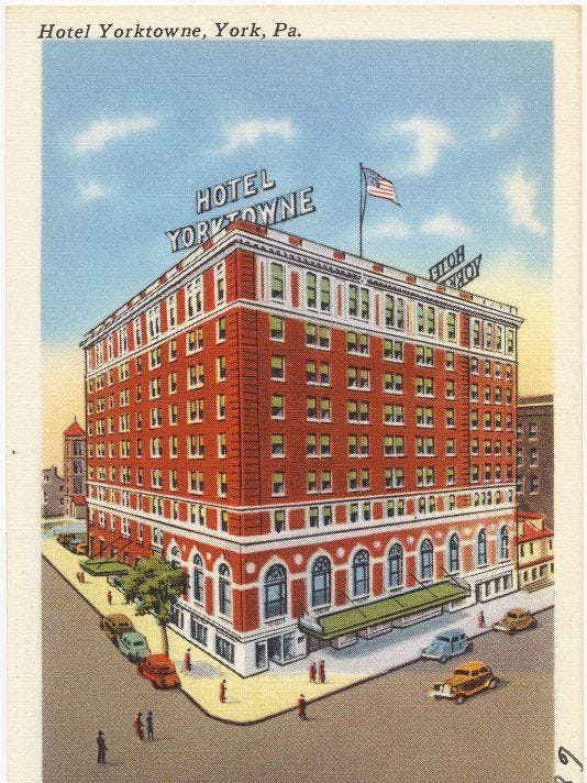 The Hotel Yorktowne (later the Yorktowne Hotel) is seen in an older postcard.