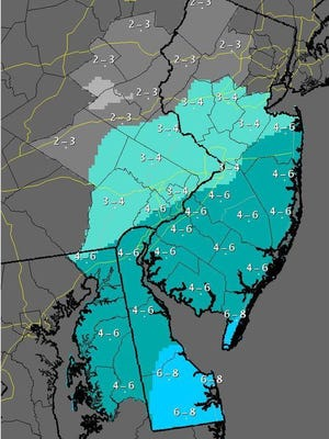 Most of Monmouth and Ocean counties could get 4 to 6 inches of snow Monday night. A winter weather advisory is in effect as of 6 p.m. through noon Tuesday.