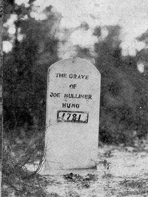 The first grave stone of Joe Mulliner.