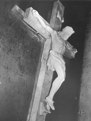 This Italian marble cross, which weighs 1,850 pounds and is 11 feet long, rests at the bottom of Little Traverse Bay as a memorial to divers and others who lost their lives in water. Weather permitting, people will be able to view it Saturday.