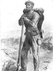 """Print depicting an African American Union soldier, originally captioned """"The Escaped Slave in the Union Army."""" His uniform and equipment are similar to those worn by black soldiers who fought in South Florida."""