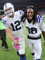 Indianapolis Colts QB Andrew Luck and teammate Sergio