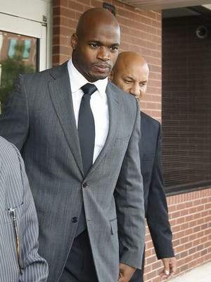 Adrian Peterson appeared in court Wednesday as he faces a felony charge for child abuse.