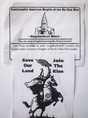 Klu Klux Klan leaflets left on lawns in Winchester this past weekend.