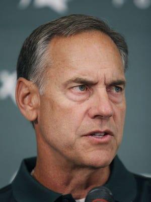 Michigan State football coach Mark Dantonio addresses reporters Aug. 4, 2014, in East Lansing.