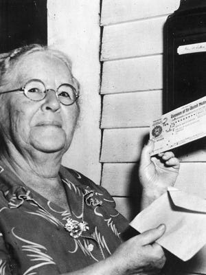 First monthly Social Security check recipient Ida May Fuller.