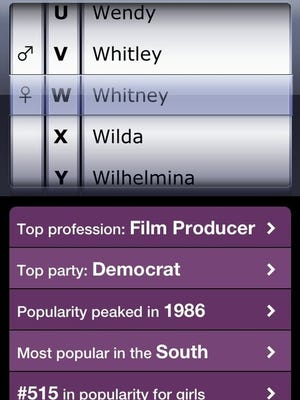 The Nametrix app tells you odd facts about thousands of names.