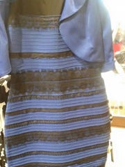 Blue and black/white and gold dress