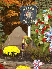 A memorial to the officers slain in the Brinks robbery in Nyack