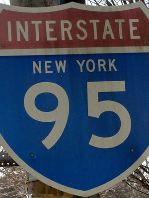 A woman was reportedly hurt by falling concrete from an I-95 overpass.