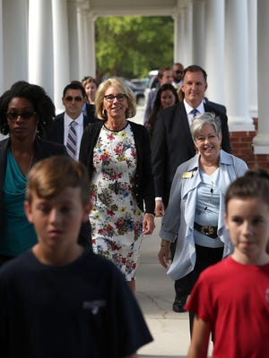 Education Secretary Betsy DeVos visited Holy Comforter Episcopal School on Aug. 29, 2017, in Tallahassee, the first of two days she'll spend in the city but not visit any public schools.
