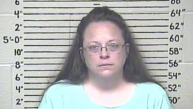 Kim Davis' booking mug made available by the Carter County Detention Center.