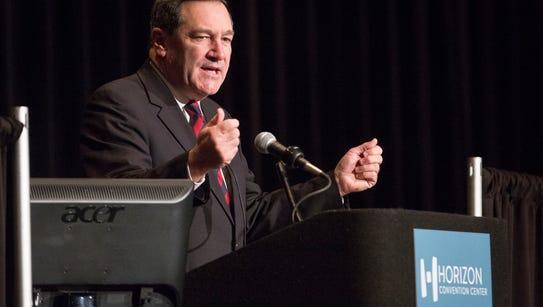 U.S. Senator Joe Donnelly speaking at the Indiana Economic