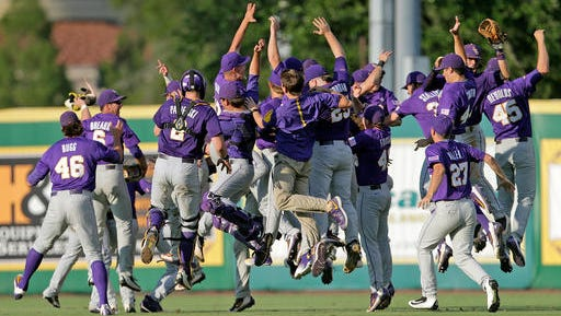 LSU celebrates its win over Rice after an NCAA college baseball tournament regional game in Baton Rouge.