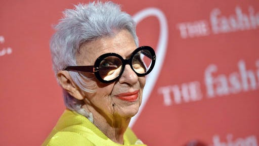 """FILE - In this Oct. 27, Auteur of Style honoree Iris Apfel attends The Fashion Group International's Night of Stars Gala at Cipriani Wall Street  in New York.  Apfel  has some advice for young female entrepreneurs: When opportunity presents itself, take it and run with it. """"Taking opportunity and running is very important, because I never had a business plan in my life. Things just came along and I grabbed them,"""" Apfel said Friday, Nov. 18, 2016 at the Women's Entrepreneurship Day conference at the United Nations."""