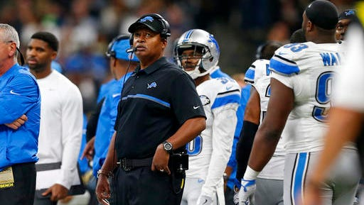 Lions coach Jim Caldwell watches from the sideline in the second half against the Saints in New Orleans, Sunday, Dec. 4, 2016.