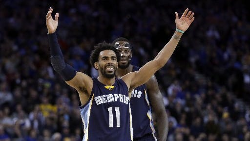 Memphis Grizzlies' Mike Conley (11) during the second half of an NBA basketball game against the Golden State Warriors Friday, Jan. 6, 2017, in Oakland, Calif. Memphis won 128-119.