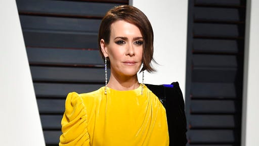 """FILE - In this Feb. 26, 2017 file photo, actress Sarah Paulson arrives at the Vanity Fair Oscar Party in Beverly Hills, Calif. Fresh off her SAG, Golden Globe and Emmy Award wins for playing Marcia Clark in """"American Crime Story,"""" Paulson is celebrating the woman who put together all those red carpet looks: Karla Welch, whom the Hollywood Reporter just named the industry's most powerful stylist. Though Paulson prefers leisurewear, she loves the ritual of getting ready for the red carpet. Having a spectacular dress to wear helps her achieve the right mindset for a million flashbulbs and screaming fans."""
