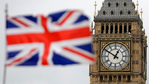 """British Union flag waves in front of the Elizabeth Tower at Houses of Parliament containing the bell know as """"Big Ben"""" in central London, Wednesday, March 29, 2017. Britain will begin divorce proceedings from the European Union later on March 29, starting the clock on two years of intense political and economic negotiations that will fundamentally change both the nation and its European neighbors."""