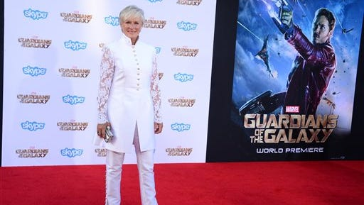"""Glenn Close arrives at the premiere of  """"Guardians of the Galaxy"""" at El Capitan Theatre on July 21 in Los Angeles."""